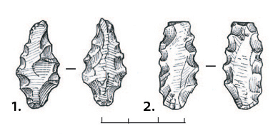 Lithic industry of the Promontoire site. 1. Bifacial shaping armature. 2. Armature with bifacial retouv. Drawing S. Aeschlimann