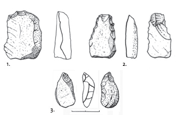 Lithic industry of the Promontoire site. 1. Scraper. 2. Side-scraper. 3. Drill. Drawing S. Kouti.