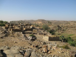 Fig. 1 : The village of Yawa on the Bandiagara cliff. Photo H. Mezger