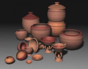 Matériel céramique 3D de Dangandouloun. Reconstitution A. Mayor et B. Gallay