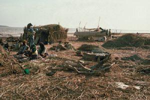 Camp de pêcheurs Bozos, dans le Delta Intérieur du Niger. Photo E. Huysecom.