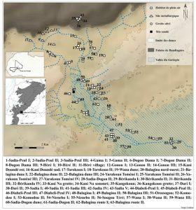 Carte de localisation des sites archéologiques de la vallée du Guringin, Mali