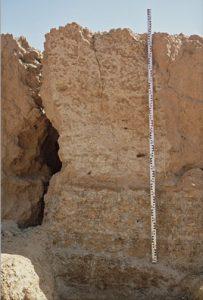 Une coupe prête pour être relevée. La base de la mire repose sur un niveau paléolithique. Photo S.Soriano