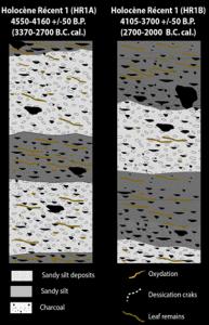 Modèle d'organisation des microfaciès sédimentaire de la séquence HR1. Dessin L. Lespez