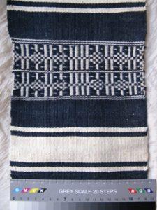 Fig. 5 Laize avec des motifs lancés, tissée à Pigna pour la production de couvertures oldebe. Photographie H. Mezger
