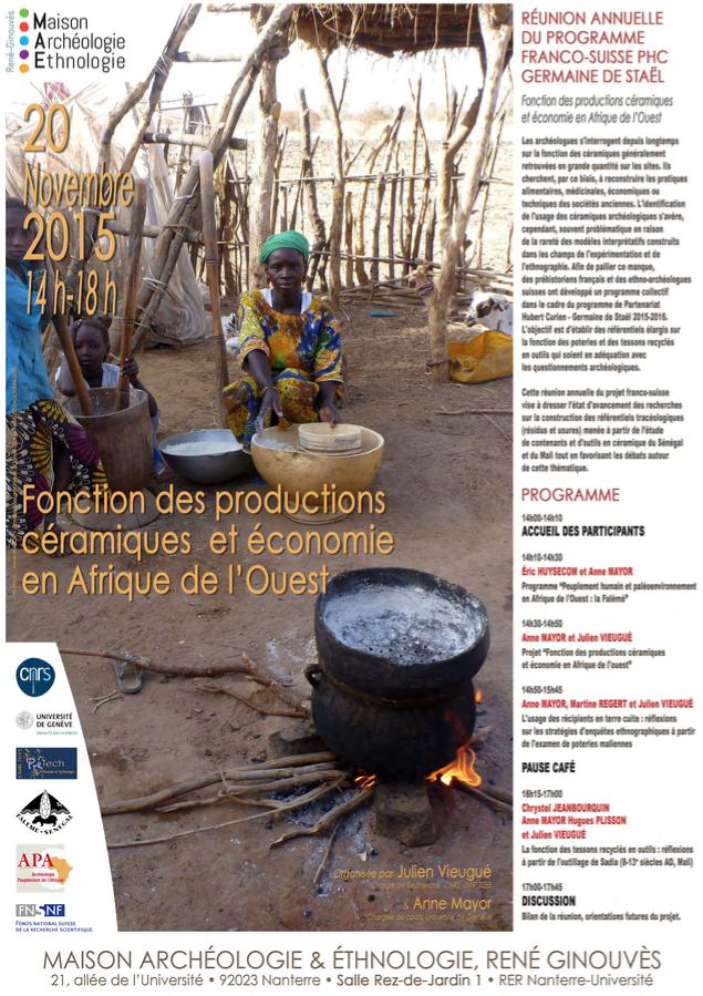 Fonction des productions céramiques et économie en Afrique de l'Ouest - 20 novembre 2015 | Maison Archéologie & Ethnologie à Nanterre